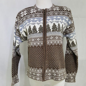 Fair Isle Nordic Sweater Cardigan Medium Brown